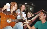 Fellow travelers share music and beer