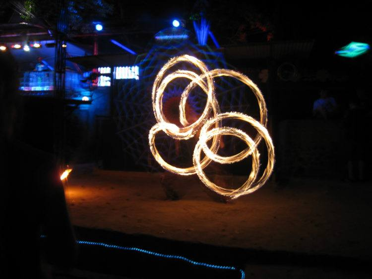 Fire dancer at Half Moon Party on Koh Phangan, Thailand