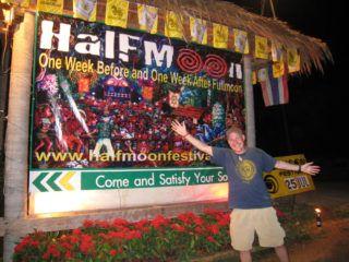 Half Moon Party sign