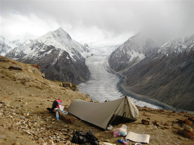 Camping adjacent a glacier in Pakistan