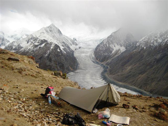 Camping adjacent a glacier in Pakistan