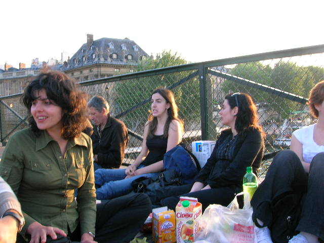 Enjoying a late summer picnic on the Pont des Arts