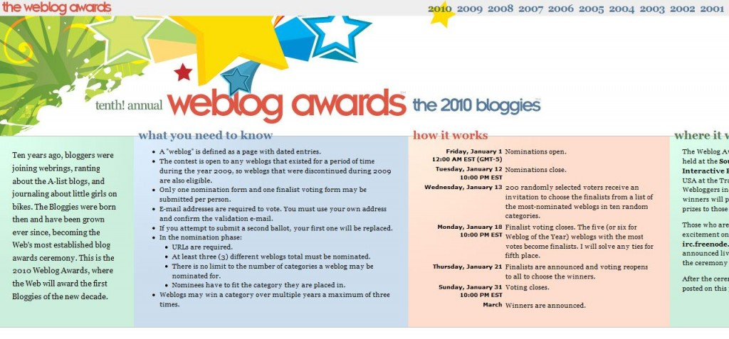 2010 Weblog Awards