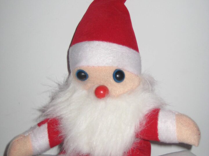 The Santa stuffed animal given to me by a friendly high school student who didn't quite understand why Santa doesn't visit the Jews...