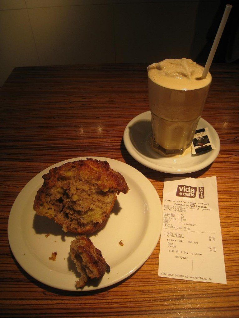 Cafe gelado and banana muffin - Cape Town, South Africa