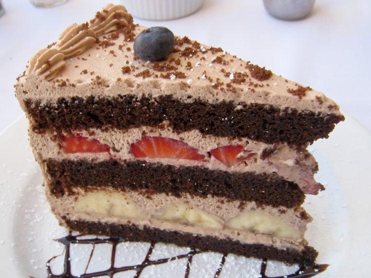 Strawberry banana creme chocolate cake