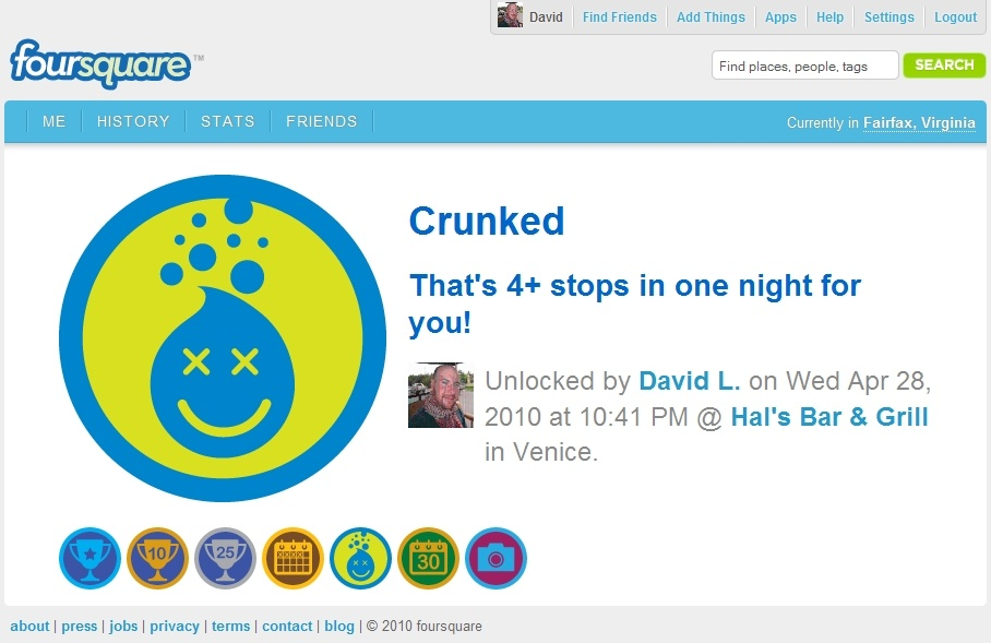 The Crunked badge on Foursquare