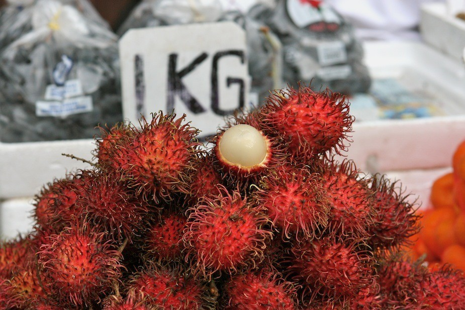 Rambutan (fruit) at the Chinatown market.