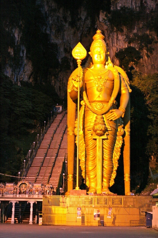 The Hindu God, Lord Murugan at Batu Caves.