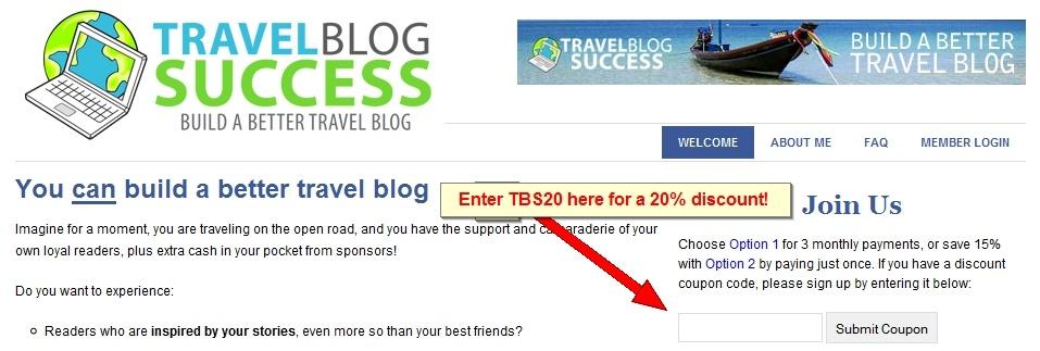 Travel Blog Success - 20% Discount Coupon