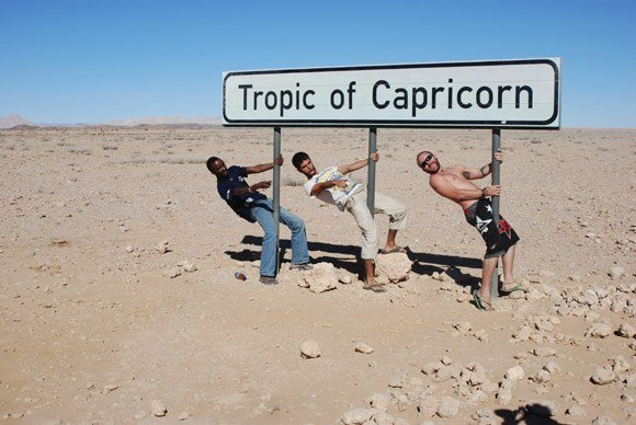 Cause for celebration - reaching the Tropic of Capricorn in Namibia