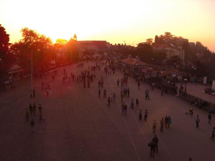 The Shimla Mall at sundown