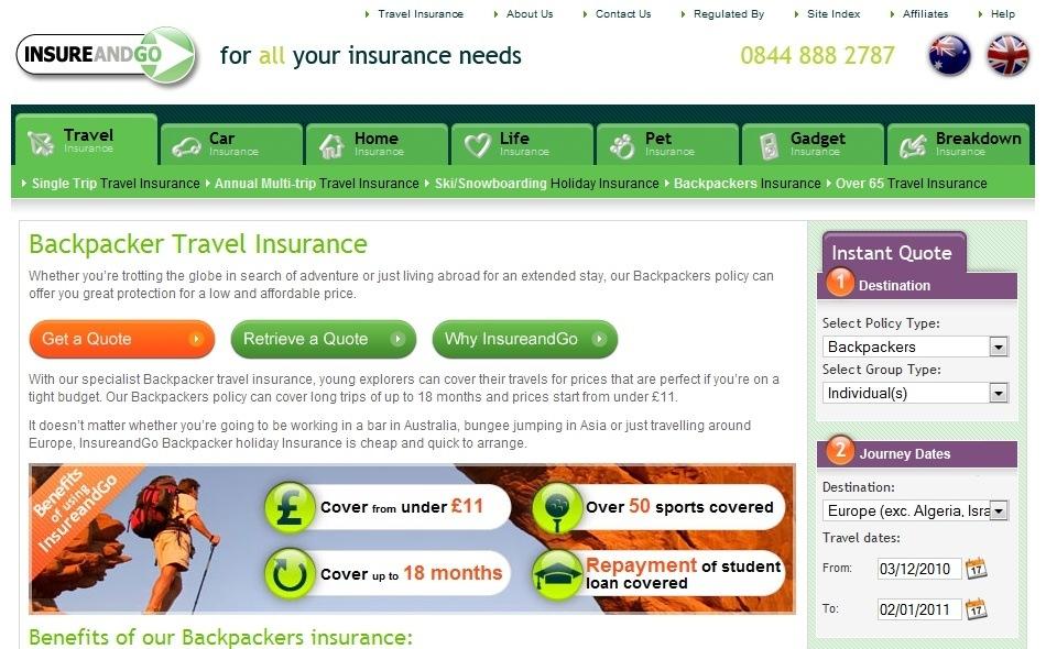 Insureandgo backpacker travel insurance