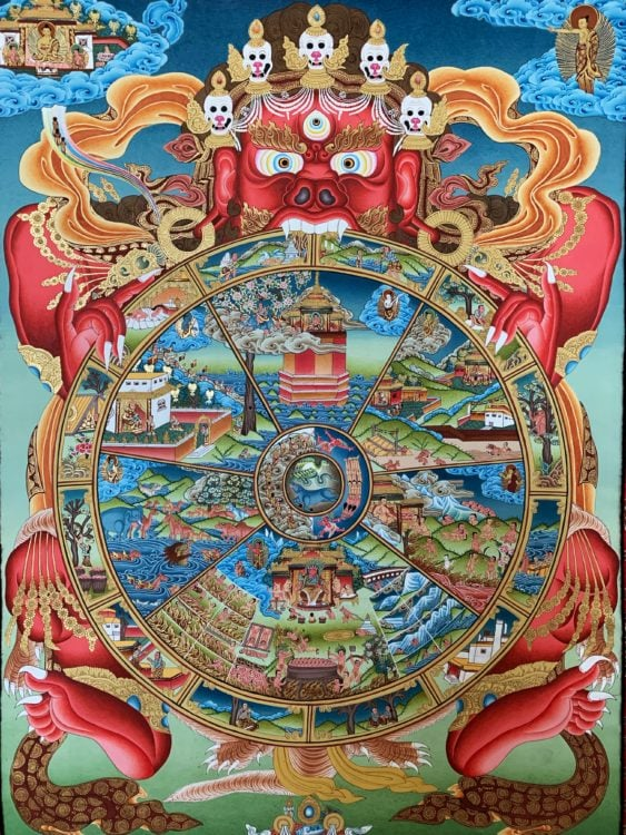 Just the Tibetan thangka painting, minus the cloth frame