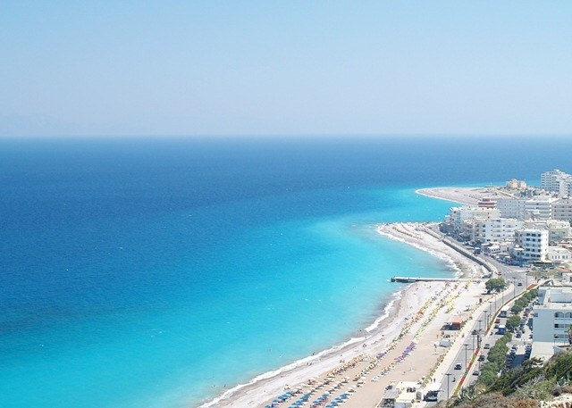 The beaches of Rhodes Town, Greece