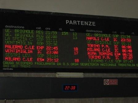 Main board, no train for Torino.