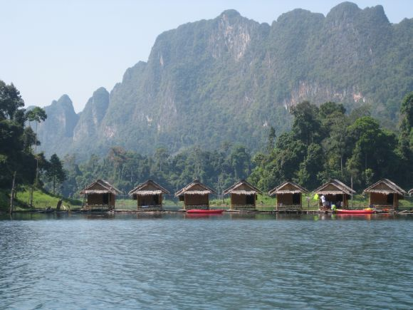 Raft houses at Ratchaprapa Dam Khao Sok, Thailand