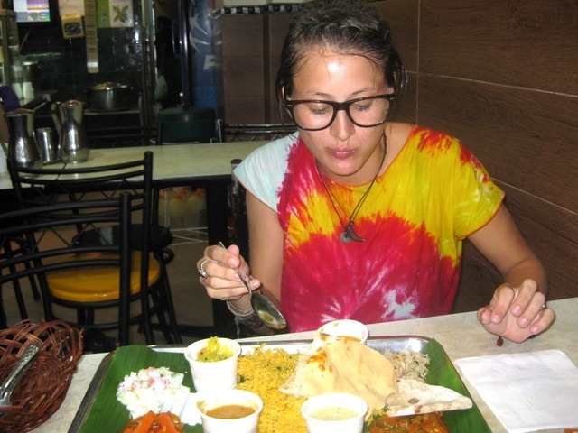 Enjoying the food in Little India.