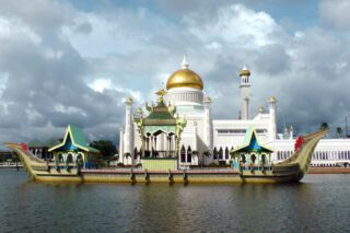 Ship and mosque in Brunei