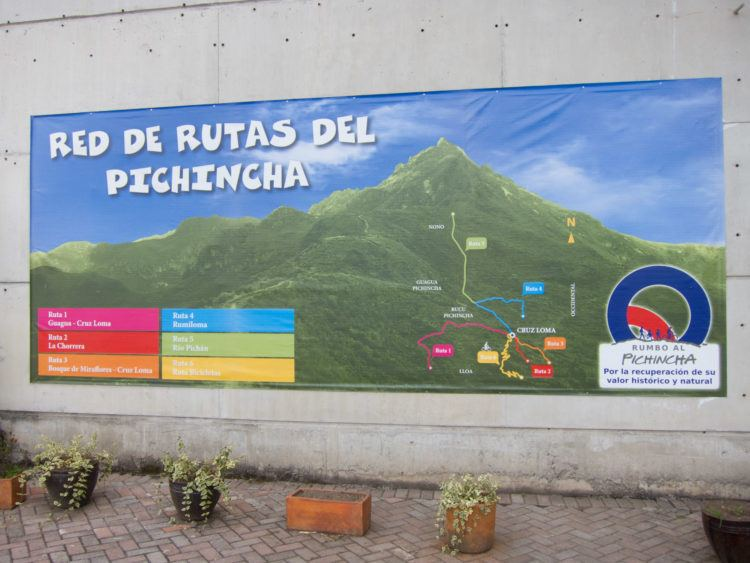 Trail map for hiking Pichincha Volcano, found at base of the Teleferico