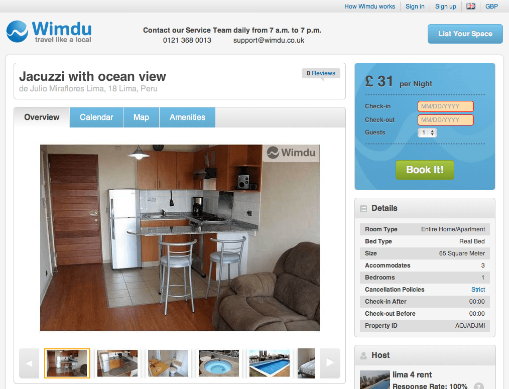 Wimdu Apartment Listing