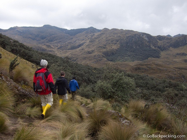 hiking in parque nacional cajas