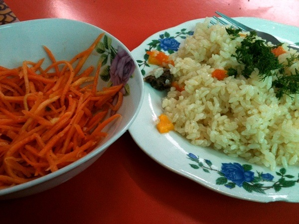 carrot salad and plov