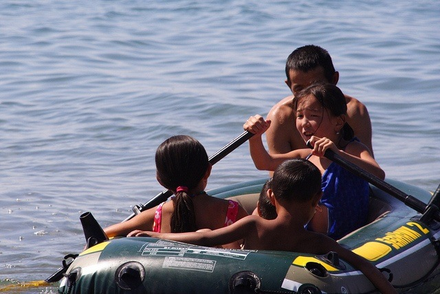 Kids in boat at Issyk Kul
