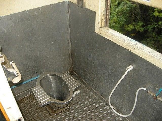 squat toilet on Thai train