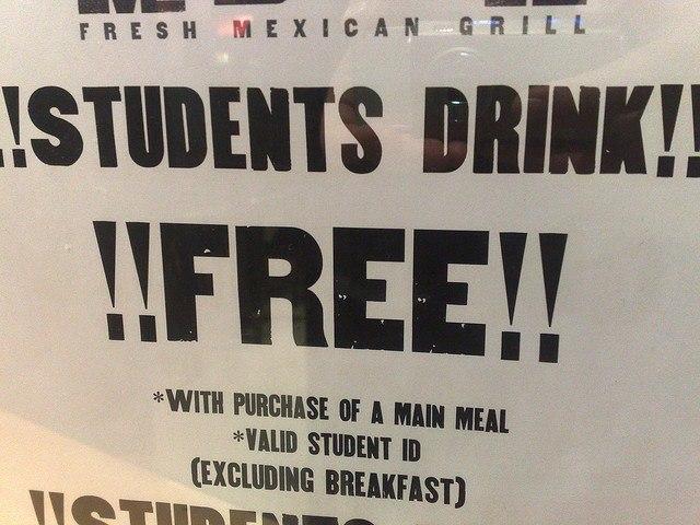 student drinks