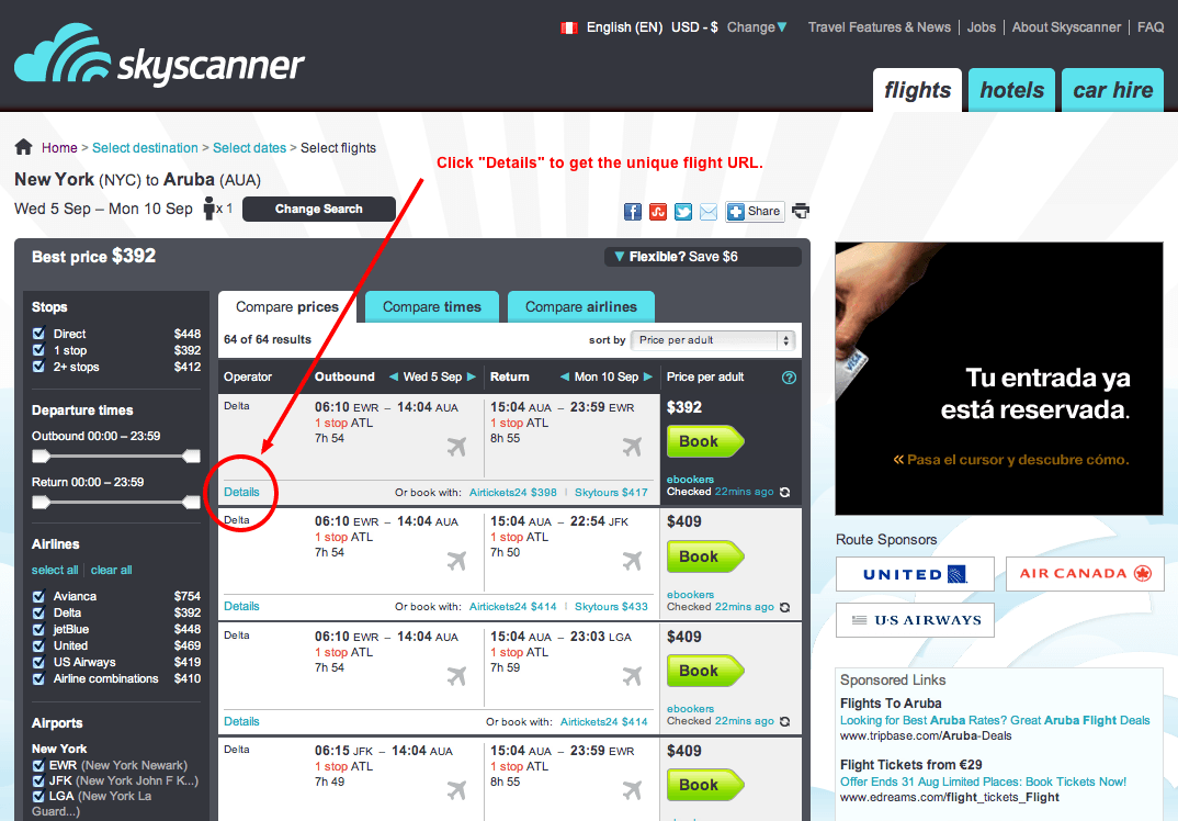 Skyscanner Search Results