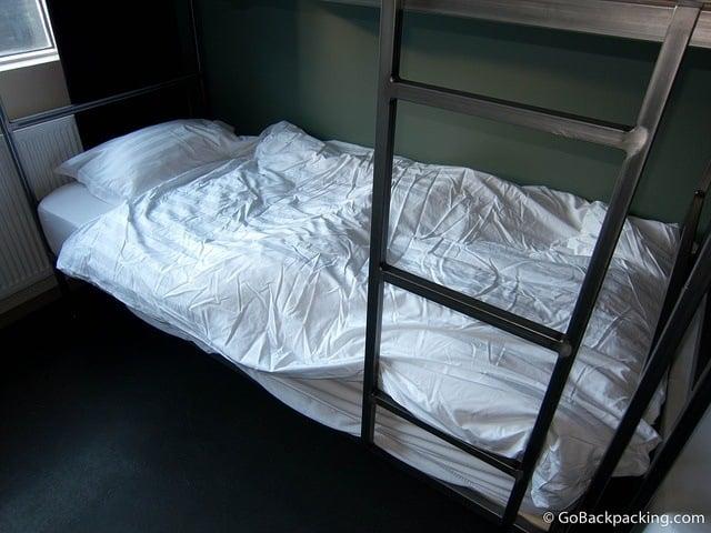 Dorm bed in a Reykjavik hostel