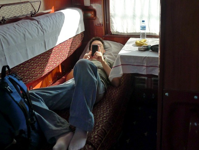 Pat relaxing on his train bed.