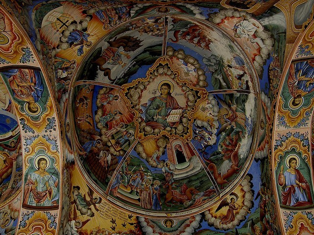 Painted fresco inside Rila Monastery