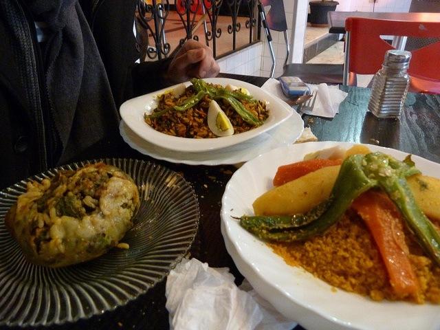 Tunisian couscous (right)