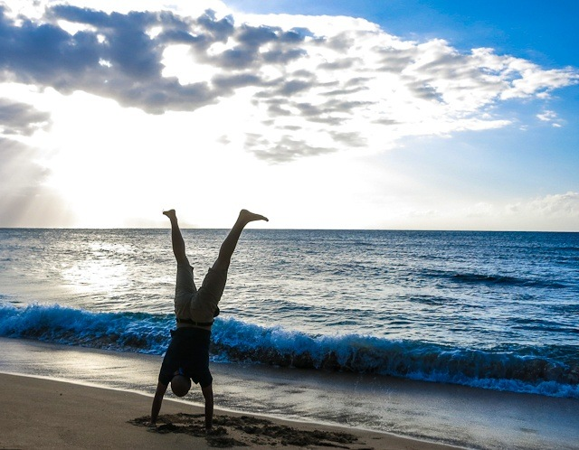 Handstand at sunset