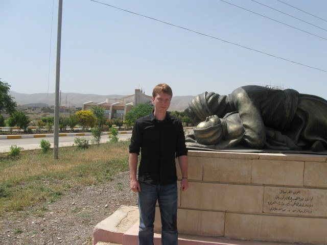 Monument outside of Halabja honoring those who were killed by Saddam.