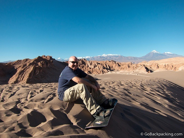 Sandboarding in the Atacama Desert