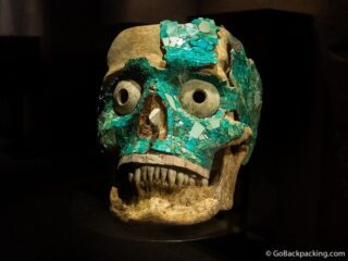 Turquoise skull at the Museum of Oaxacan Culture