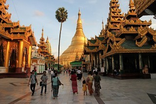 In Yangon be sure to visit the Shwedagon Pagoda around sunset