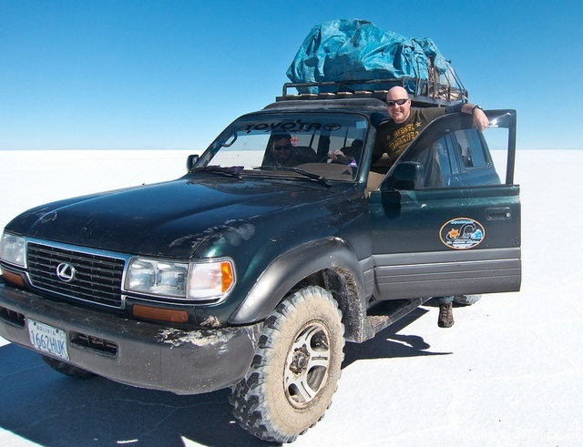 Taking a turn behind the wheel on the Bolivian salt flats