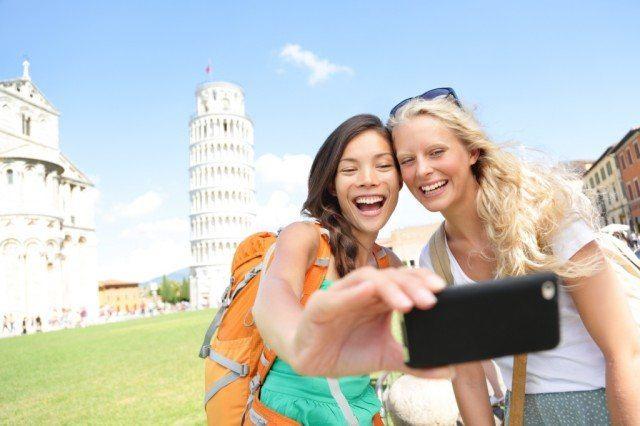 Taking selfies in Italy