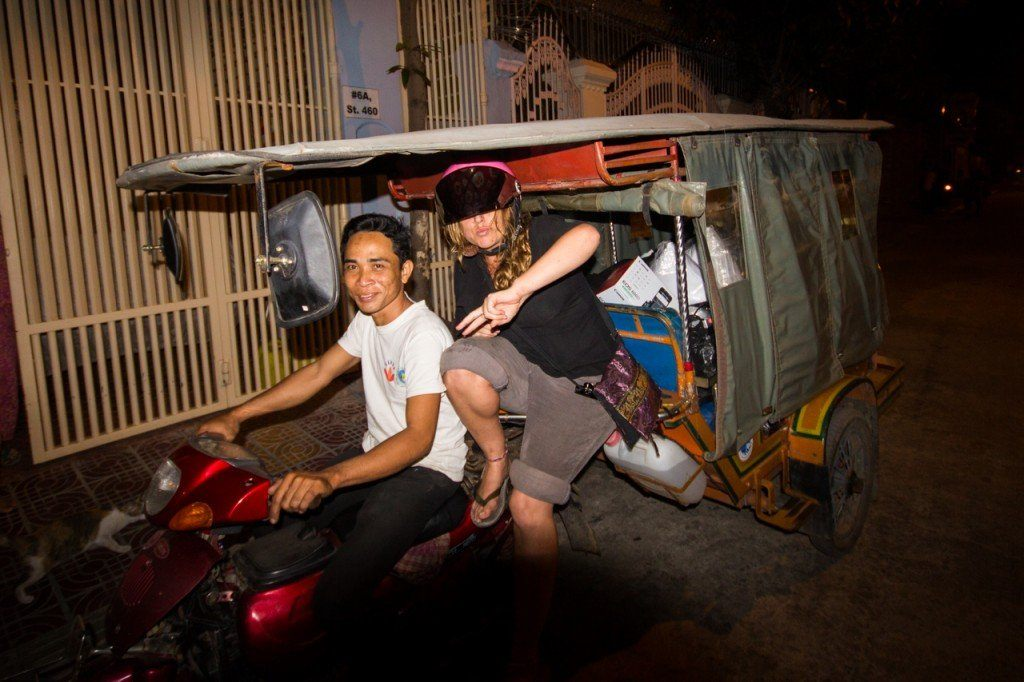 A Cambodian tuk-tuk. A motorbike with carriage on the back - we used one to move house, total cost less than $5 to take everything we owned
