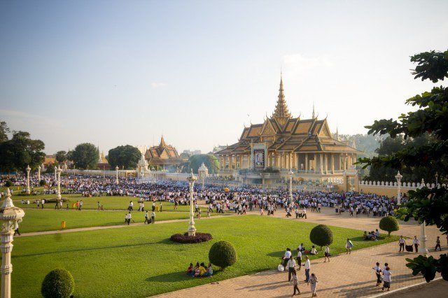 The Royal Palace during the mourning of King Sihanouk