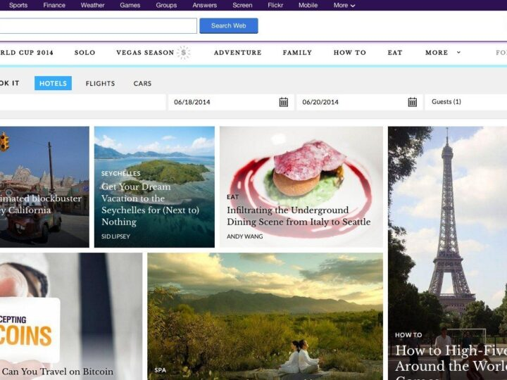 Yahoo Travel home page