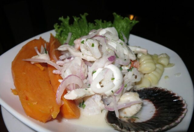 The sweet potato was a nice compliment to the tangy and spicy ceviche.