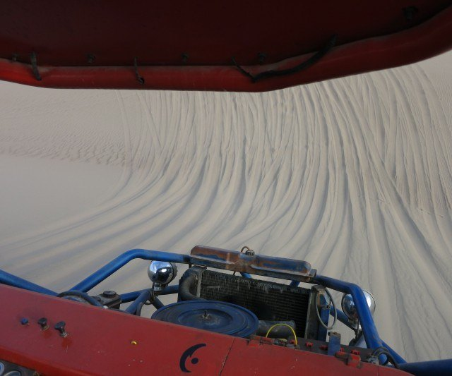 Going down the dunes in the buggy was almost as fun as doing it on the board.
