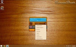 TunnelBear for PC country selection list