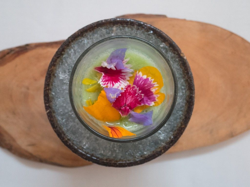 Cactus milk with retama petals at Central