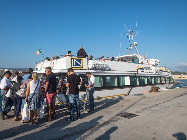 Boarding the Picasso ferry in Vieste's harbor